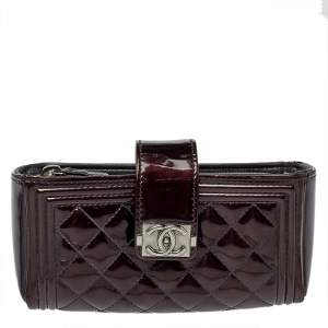 Chanel Dark Brown Quilted Patent Leather CC Phone Holder Clutch