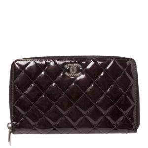 Chanel Deep Burgundy Quilted Patent Leather CC Zip Around Wallet Organizer