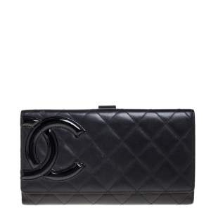 Chanel Black Quilted Leather Cambon Ligne Flap Wallet