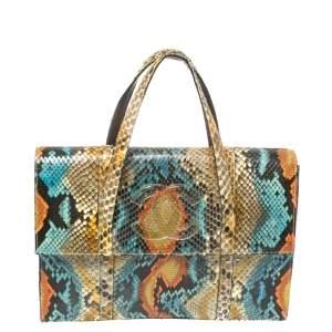 حقيبة يد شانيل فينتدج قلاب مزين شعار الماركة سي سي جلد ثعبان متعدد الألوان