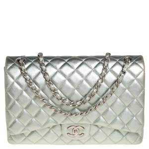 Chanel Metallic Pale Green Quilted Leather Maxi Classic Double Flap Bag