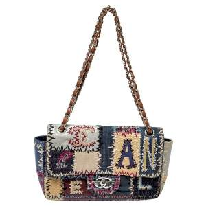Chanel Multicolor Patchwork Leather and Fabric Medium Flap Bag