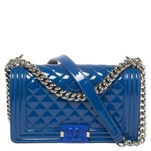 Chanel Blue Quilted Patent Leather Medium Plexiglass Boy Flap Bag