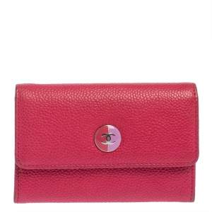 Chanel Pink Caviar Leather CC Flap Card Holder