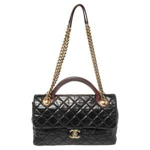 Chanel Black/Burgundy Quilted Glazed Leather Medium Castle Rock Top Handle Bag