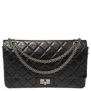 Chanel Black Quilted Aged Leather Reissue 2.55 Classic 226 Flap Bag