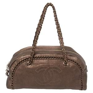 Chanel Metallic Brown Leather Medium Chain Trim Luxe Ligne Bowler Bag