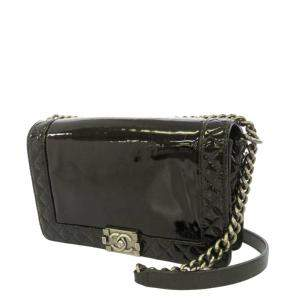 Chanel Black Patent Leather Boy Crossbody Bag