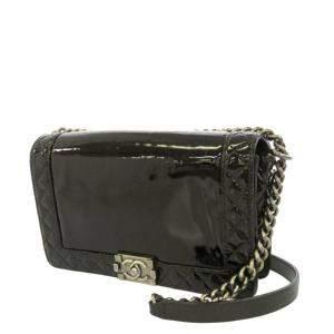 Chanel Black Patent Leather Boy Crossbody Bag