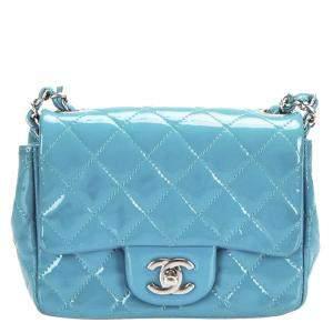 Chanel Blue Patent Leather Classic Square Mini Flap Bag