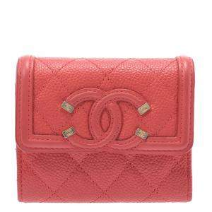 Chanel Pink Quilted Leather CC Compact Wallet