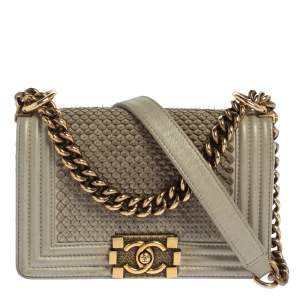 Chanel Grey Scales Leather Mini Chain Boy Flap Bag