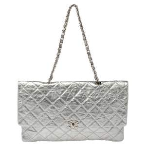 Chanel Silver Quilted Leather Large Flap Shoulder Bag