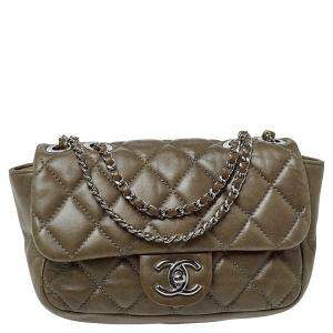 Chanel Olive Green Quilted Leather Small Classic Single Flap Bag