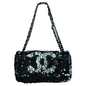 Chanel Black Sequin CC Limited Edition Summer Night Shoulder Bag