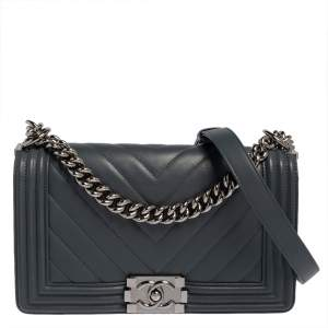 Chanel Grey Leather Medium Boy Flap Bag