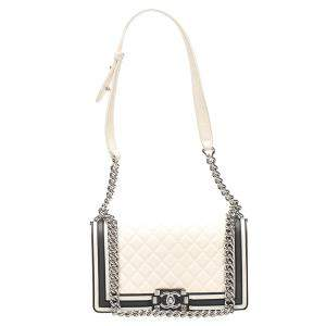 Chanel White Quilted Leather Versailles Boy Medium Bag