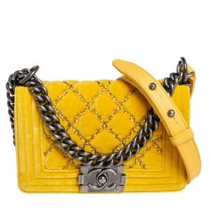 Chanel Yellow Quilted Velvet Small Boy Flap Bag