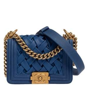 Chanel Blue Woven Lambskin Leather Paris-Versailles Mini Boy Bag