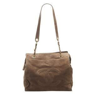 Chanel Brown Suede CC Shoulder Bag