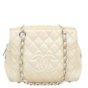 Chanel White Caviar Leather Grand Shopping Tote Bag