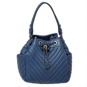 Chanel Blue Chevron Leather Drawstring Bucket Bag