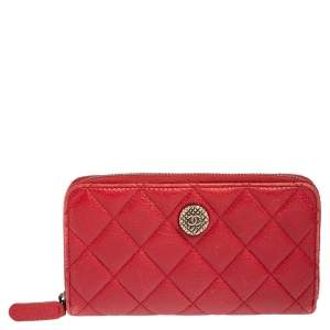 Chanel Red Quilted Leather CC Zip Around Wallet
