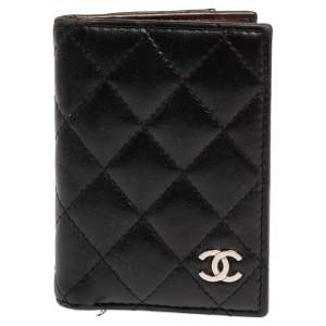 Chanel Black Quilted Leather Bifold Card Holder