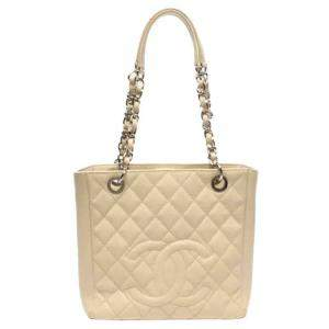 Chanel Beige Caviar Leather Timeless Petite Shopping Tote Bag