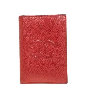 Chanel Red Caviar Leather CC Bifold Card Case
