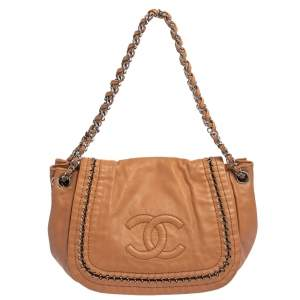 Chanel Brown Leather Accordion Shoulder Bag