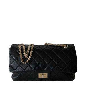 Chanel Black Calf Leather Anniversary 2.55 Reissue 227 Flap Bag
