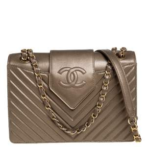 Chanel Bronze Quilted Leather Collar and Tie Flap Bag