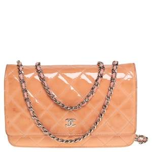 Chanel Pink Quilted Patent Leather Classic Wallet on Chain