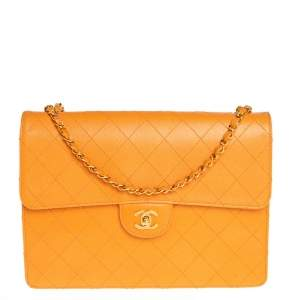 Chanel Mustard Yellow Quilted Textured Leather Vintage Classic Single Flap Bag