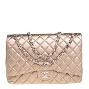 Chanel Metallic Gold Quilted Lambskin Maxi Classic Double Flap Bag