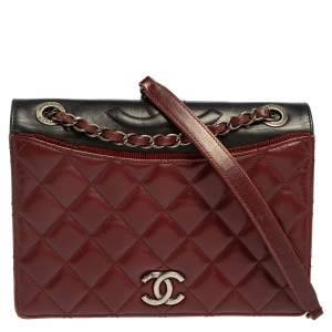 Chanel Burgundy And Dark Grey Quilted Leather and Grosgrain Small Ballerine Flap Bag