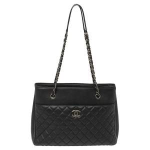 Caviar Black Caviar Quilted Leather Urban Companion Shopping Tote