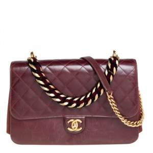 Chanel Burgundy Quilted Calfskin Leather Cosmopolite Large Shoulder Flap Bag