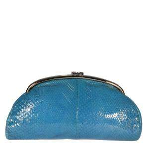 Chanel Blue Glazed Python Leather Timeless Clutch