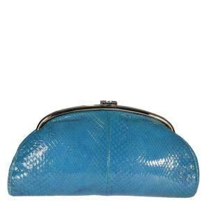 Chanel Blue Glazed Python Leather Timeless Clutch