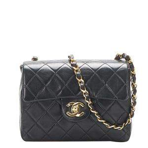 Chanel Black Lambskin Leather Classic Square Mini Flap Bag