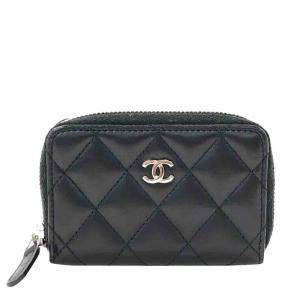 Chanel Black Quilted Leather Iridescent Zipped Coin Pouch