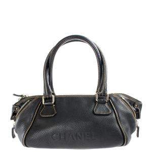 Chanel Black Leather LAX Bowler Bag