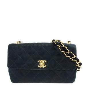 Chanel Black Satin Vintage Flap Bag