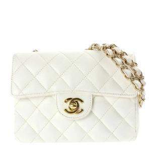 Chanel White Quilted Leather Classic Square Mini Flap Bag