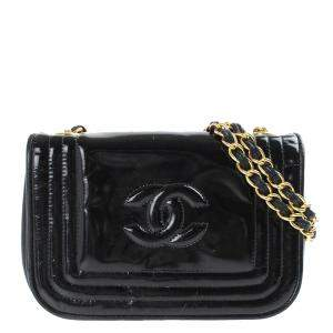 Chanel Black Patent Leather Vintage CC Stitch Flap Bag
