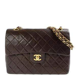 Chanel Brown Quilted Leather Classic Flap Bag