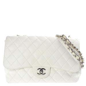 Chanel White Leather Classic Flap Bag