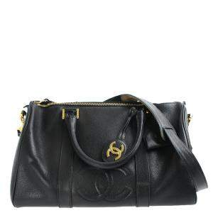Chanel Black Leather Vintage Timeless Boston Bag